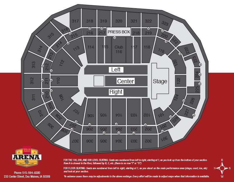 Iowa events center seating seating info wells fargo arena