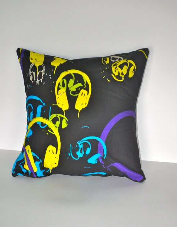 Headphones Throw Pillow cover throw pillow by CraftyMom75 on Etsy