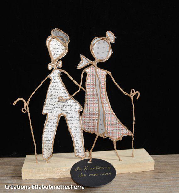 Ähnliche Artikel wie Im Herbst unseres Lebens: Skulpturen Kraft, Geschenk Geburtstag Hochzeit, String und Papier, Alter, Tisch Dekoration Figuren auf Etsy