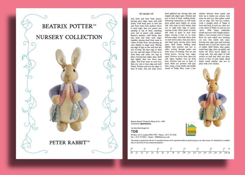 Alan Dart Peter Rabbit Beatrix Potter Original Tdb Toy Knitting