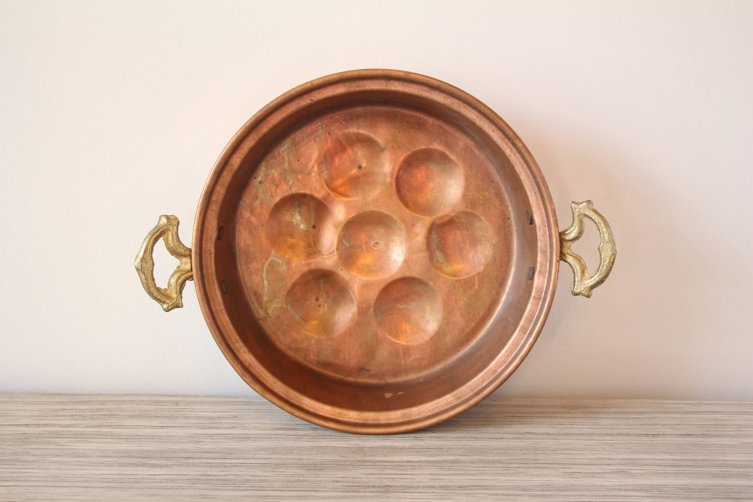 lovely Vintage Egg Poachers Part - 9: Vintage Copper Egg Poacher Pan Pot Kitchen Cooking Item Brass Handles Food  Cooking Serveware Round Wall Hanging Decorative Easter Display by ...