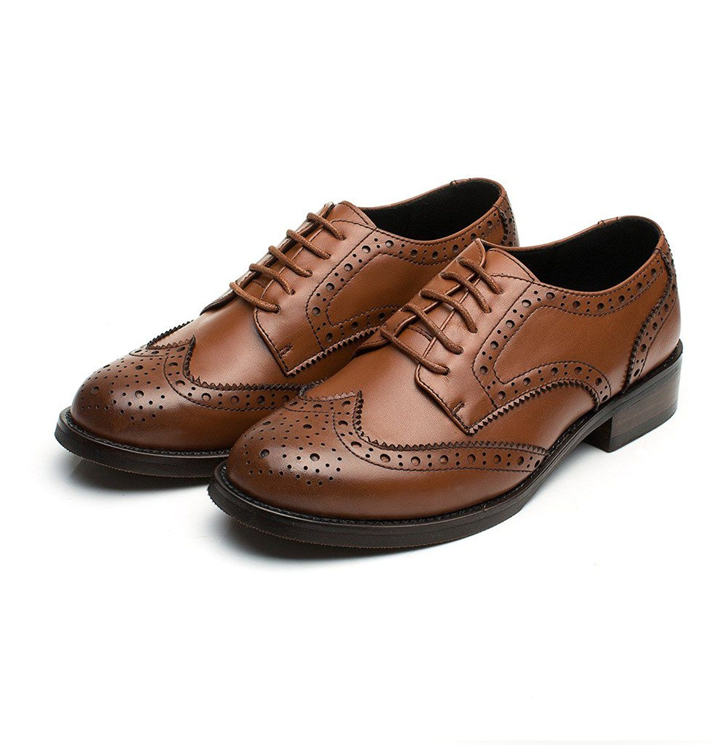81a4e8125d13f Amazon.com | U-lite Brown Perforated Lace-up Wingtip Leather Flat ...