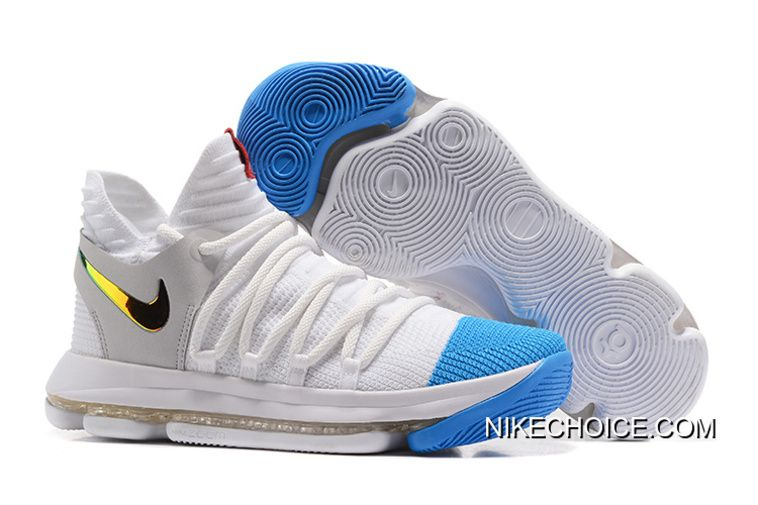 Nike KD 10 White Blue Gold New Style