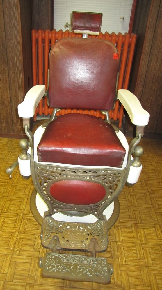 Theo A Kochs Antique Vintage Barber Chair Porcelain Red Circa