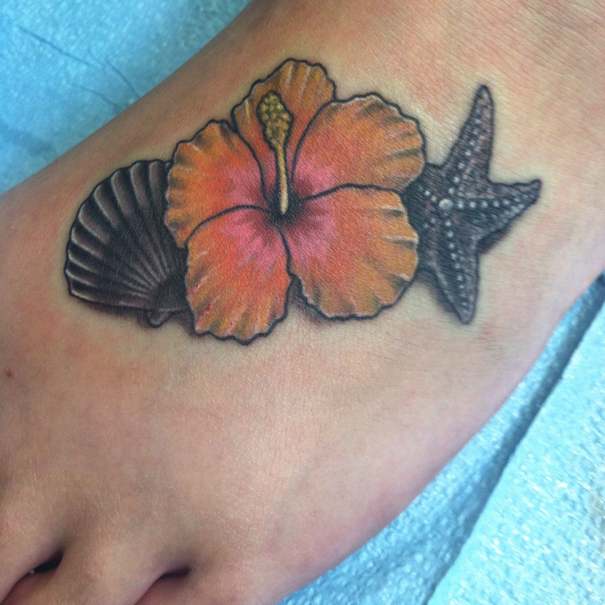 Sea Shell Starfish Hibiscus Flower Tattoo On My Foot Tattoos