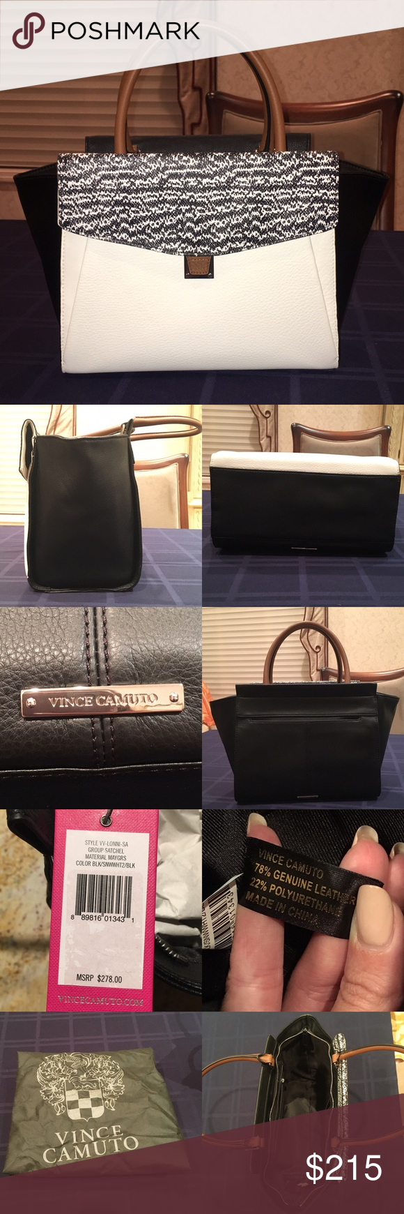 Vince Camuto Satchel Bag Brand new never used!! Includes dust bag and stuffing. Features a front and back pocket, inside pockets, and a zipper closure. Material is 78% genuine leather 22% polyurethane. No trades!! Feel free to ask questions :) Vince Camuto Bags Satchels