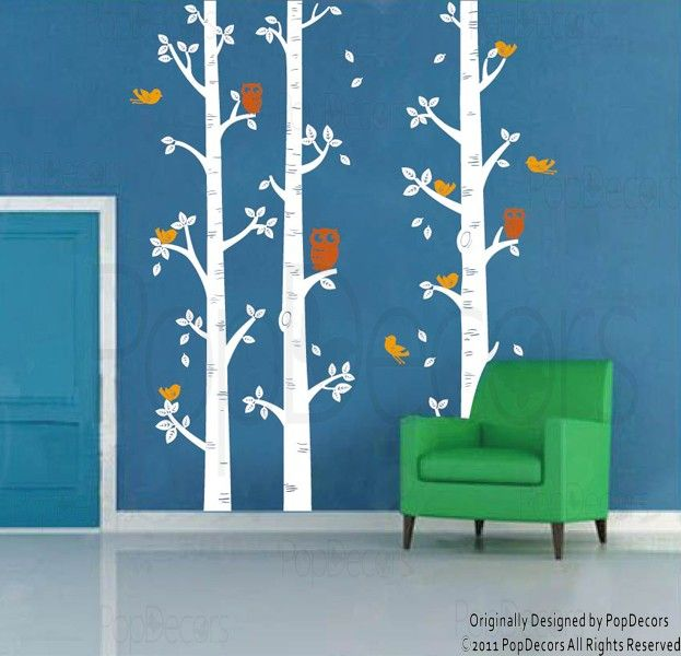Wall Decals - Nursery Room Birch Trees and Owl Decal | Tree Wall .