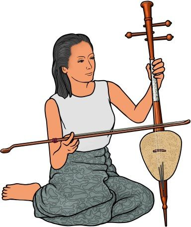 playing the saw samsai ( ซอสามสาย ).   The saw sam sai is a traditional bowed string instrument of Thailand.