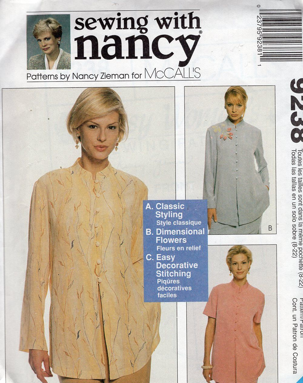 FREE US SHIP McCall\'s 9238 Sewing With Nancy Zieman Asian Inspired ...