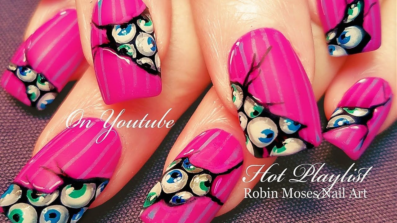 3d Eyeballs on Matte Neon Pink Nails | DIY HOT Nail Art Design ...