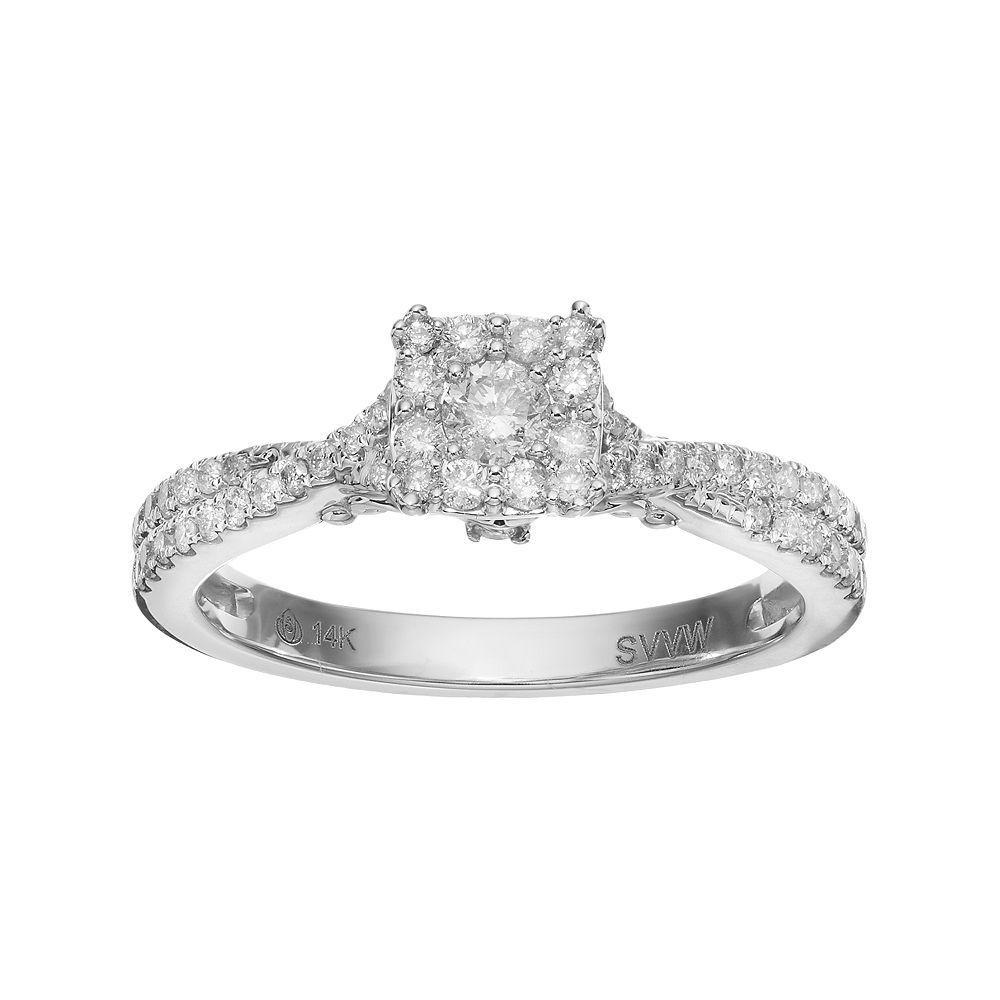 Simply vera vera wang k white gold carat tw diamond square