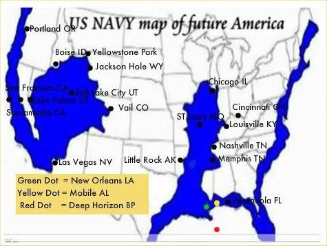 Map Of The Future United Sates According To Edgar Cayce Predictions