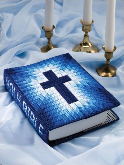 d52f556ce Plastic Canvas - Projects for the Home - Spiritual Patterns - Blue Radiance  Bible Cover