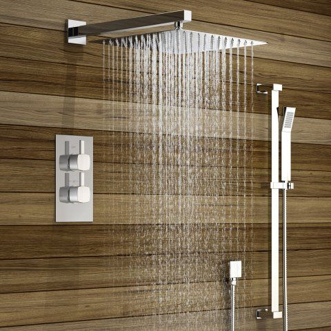 300mm Large Square Stainless Steel Wall Mounted Head, Thermostatic ...