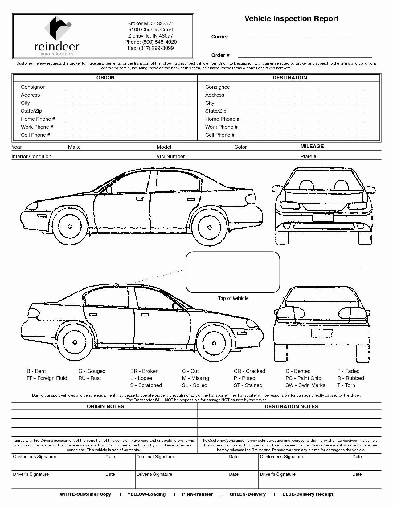 Free Printable Vehicle Condition Report Template Unique Free Bill Of Lading Form Auto Transport Pdf Vehicle Inspection Free Cars Inspection Checklist