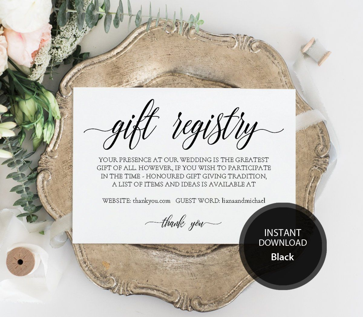 Editable Pdf Template Gift Registry Card 3 5x5 Instant Etsy Gift Registry Cards Wedding Registry Cards Registry Cards