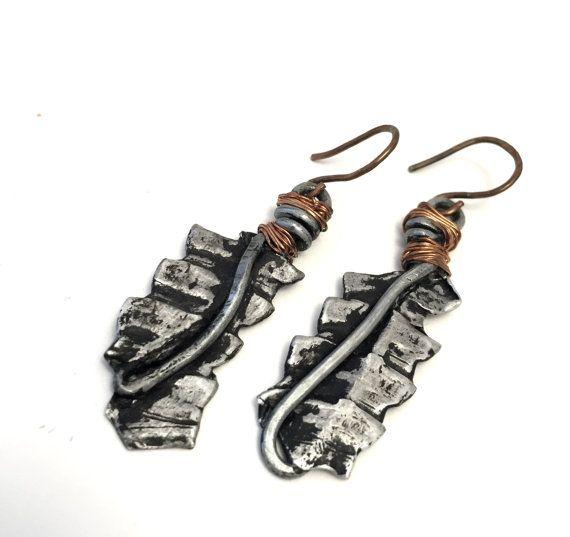 Mixed Metal Dangle Earrings HANDMADE Mixed Metal by EarthyByDesign