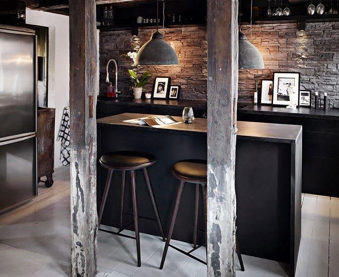 reforma #cocina abierta de estilo industrial, muebles de color negro ...