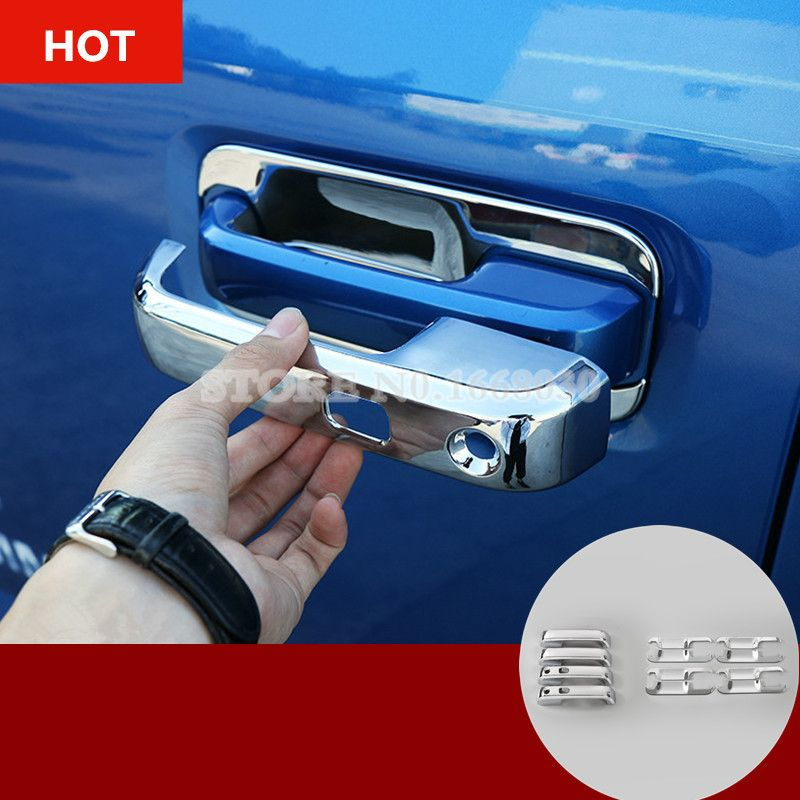 Abs Chrome Car Door Handle Trim Cover 12pcs For Ford F150 F 150 4dr 2015 2017 Chrome Cars Interior Accessories Door Handles