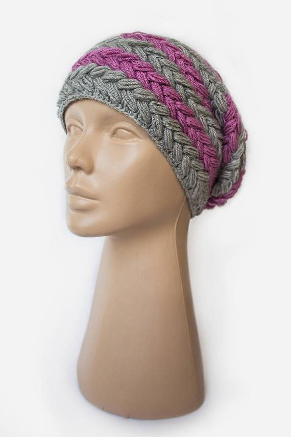 e6f91f6c4d43c Knitted warm hat crochet with pattern of braids