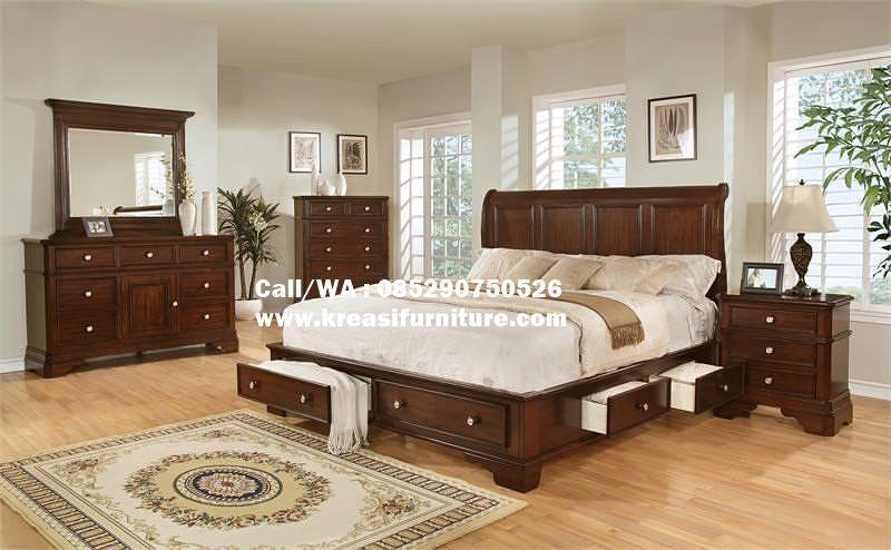 Set Tempat Tidur Berlaci Jati Natural Kreasi Furniture Jepara Set Tempat Tidur Tempat Tidur Laci Desain Tempat Tidur Bedroom set natural wood