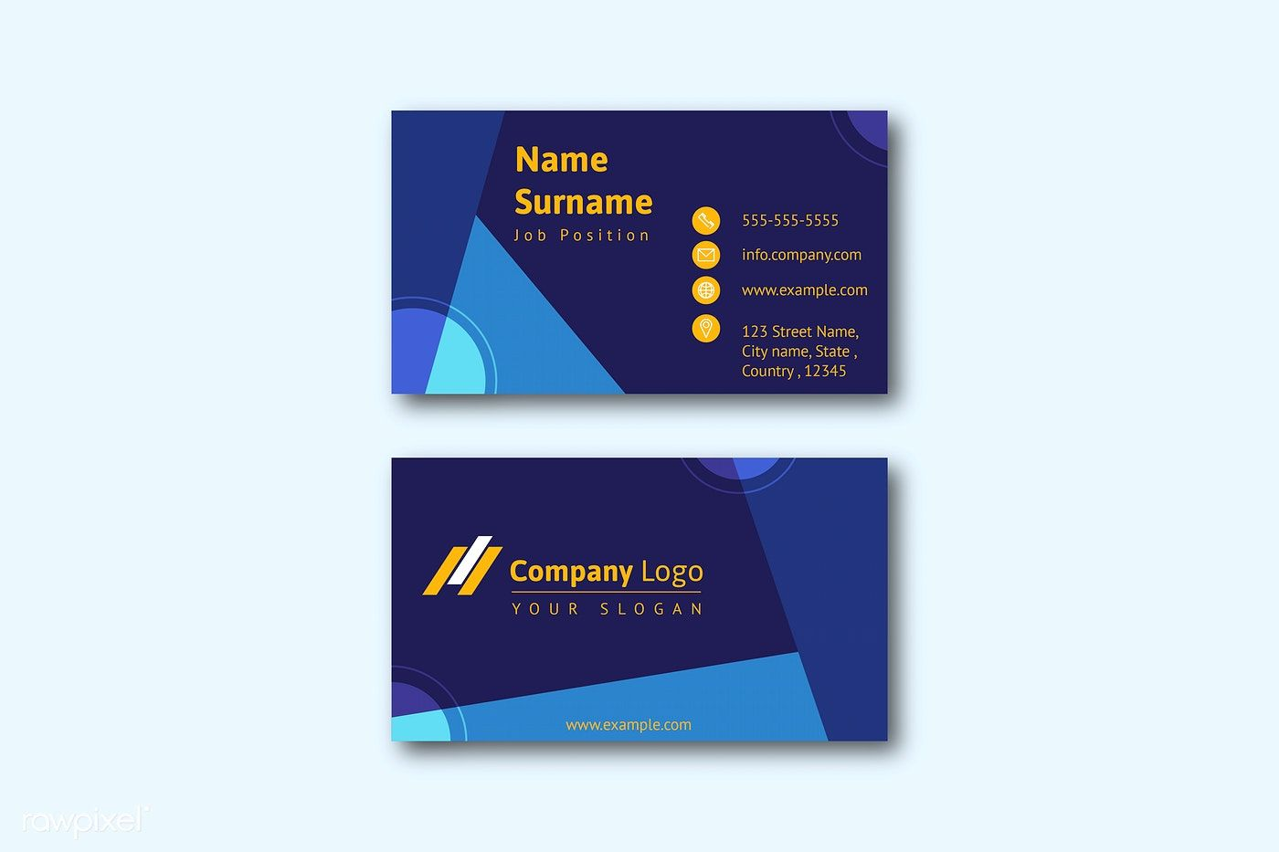 Business Card Template Front And Back Vector Free Image By Rawpixel Com Business Card Template Vector Free Cards