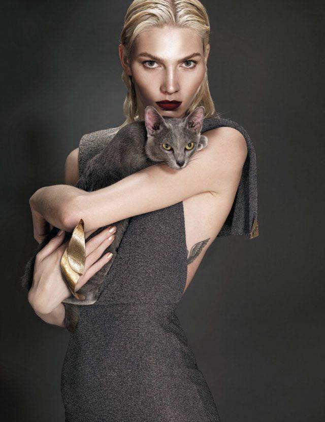 Aline Weber Takes Control by Nat Prakobsantisuk@ Vogue Thailand February 2014 #grey #cat #meow #tattoo