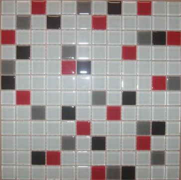 A07 White Red Gray Black Mix Glass Mosaic Tile Contemporary