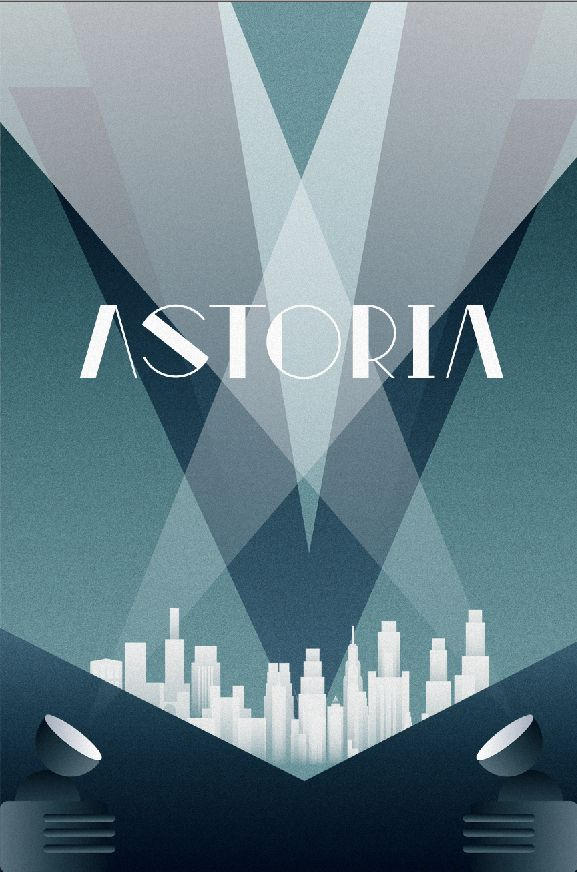 Visuele stijl 5 ART DECO Poster, symmetrie, weinig verschillende kleuren, decoratief font