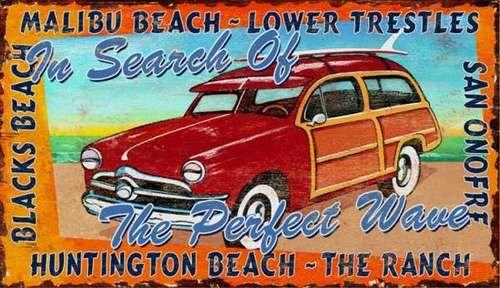 California Surf And Woody Custom Wall Art Vintage Beach Signs Beach Signs Beach Cottage Decor