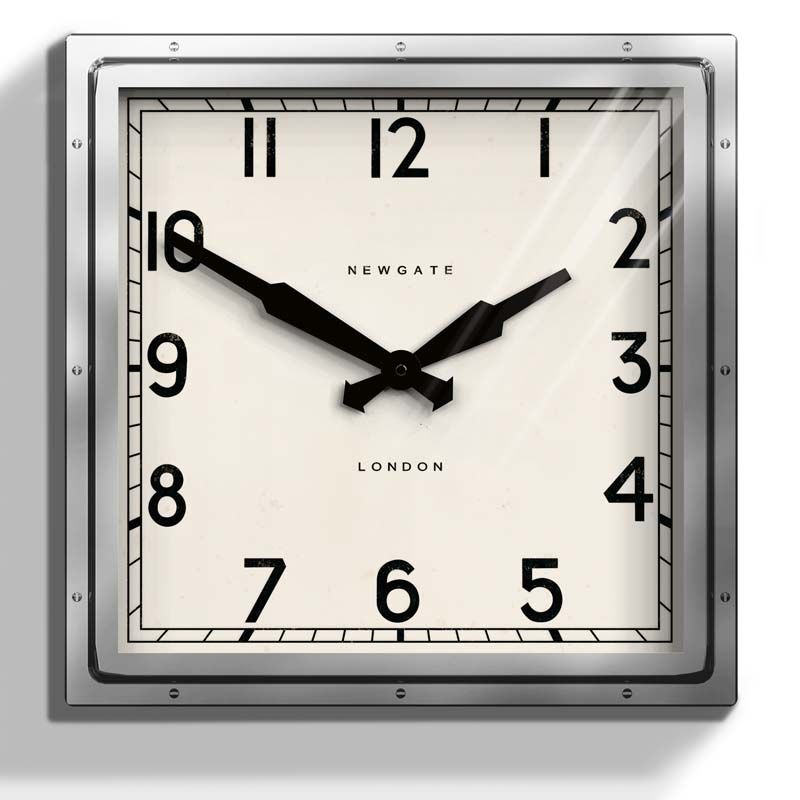 This square Newgate Quad Wall Clock is polished chrome case with a