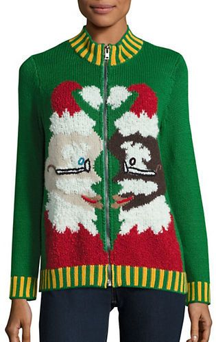 Whoopi Goldberg Zip Up Ugly Christmas Sweater Luxe Style