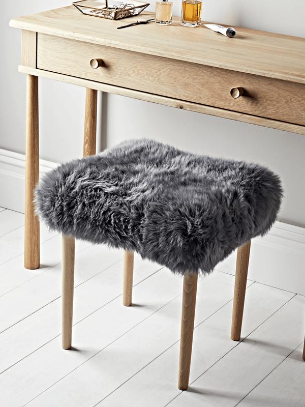 Best Sheepskin Dressing Table Stool Slate Grey Dressing 640 x 480