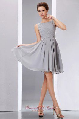 Pretty Grey Cocktail Dress A-line Scoop Knee-length Chiffon Ruch ...