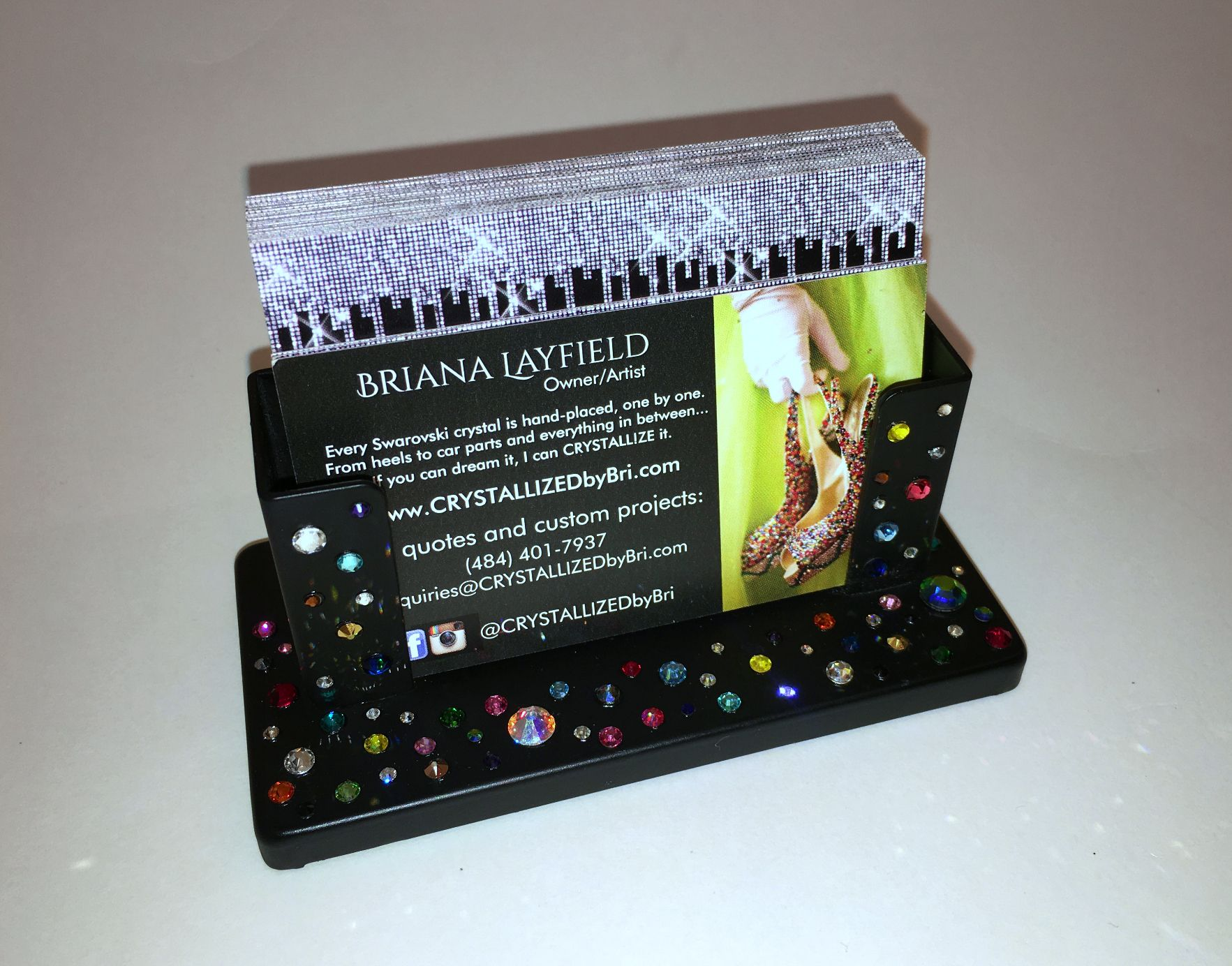 crystall zed desk business card holder crystall zed by bri