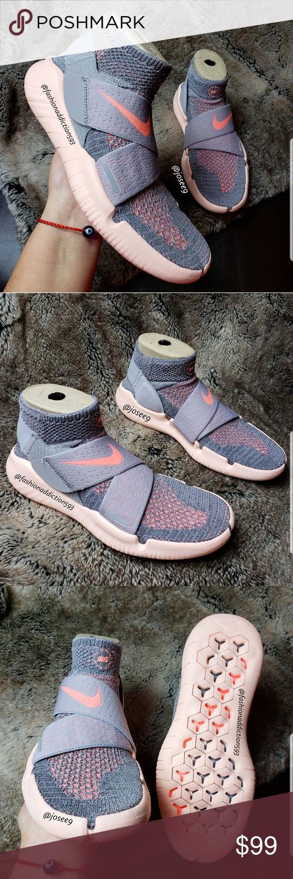 Nike Free RN Motion FK 2018 grey peach sneakers Size 5.5Y