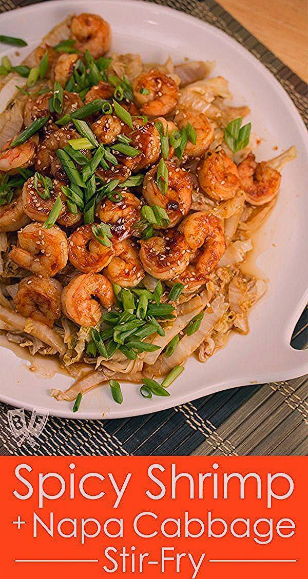 Spicy Shrimp  Napa Cabbage StirFry This Spicy Shrimp  Napa Cabbage StirFry is a quick and delicious Chineseinspired seafood meal You wont even miss the rice
