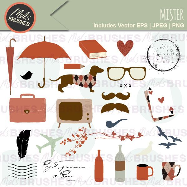 Mister - Masculine clipart for cards, newsletters, scrapbooking and invitations.