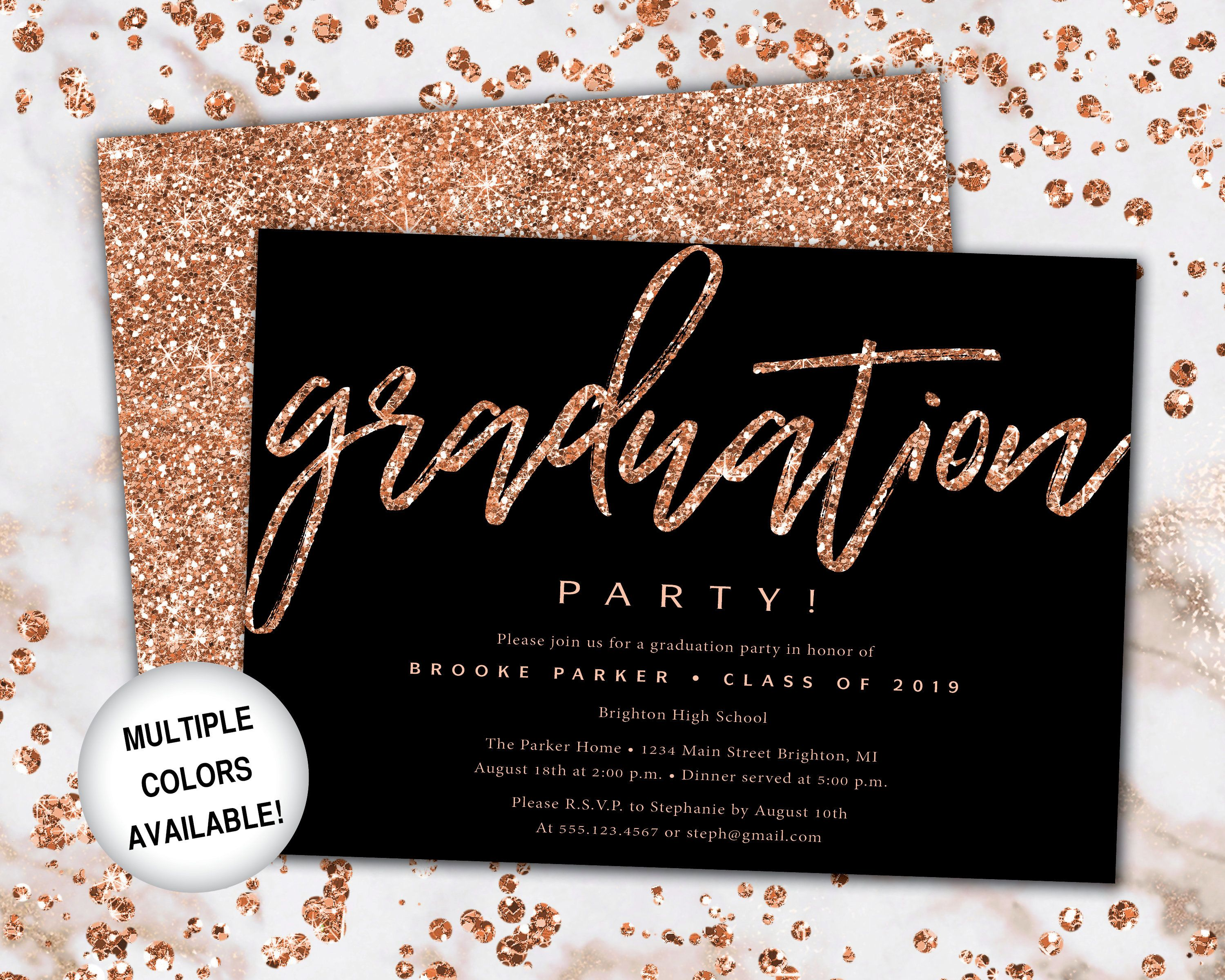 Rose Gold and Black Graduation Party Invitation Rose Gold | Etsy | Rose  gold invitations, Graduation party invitations, Grad party invitations