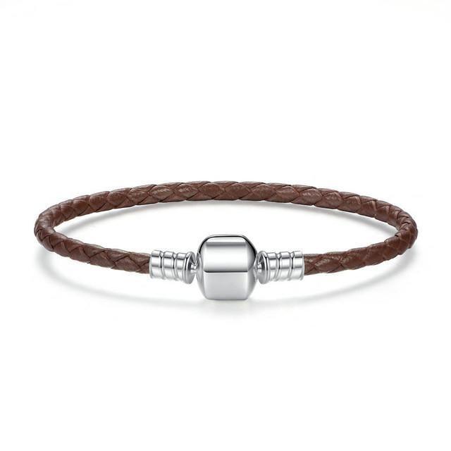 BAMOER Original 925 Sterling Silver Genuine Leather Snake Chain Charm Bracelets