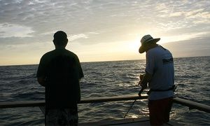 Groupon - Twilight Fishing Trip from Seaforth Sportfishing in Mission Bay Park. $30 for one, $60 for two, $115 for four. In a Nutshell - While fishing for bass, barracuda, and rockfish for 4.5 hours, groups watch the sunset color the San Diego skyline. #SanDiego
