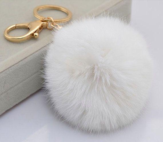 7a6c904787c White Cute Genuine Rabbit or Fox fur pom pom ball plush key chain for car key  ring Bag Pendant