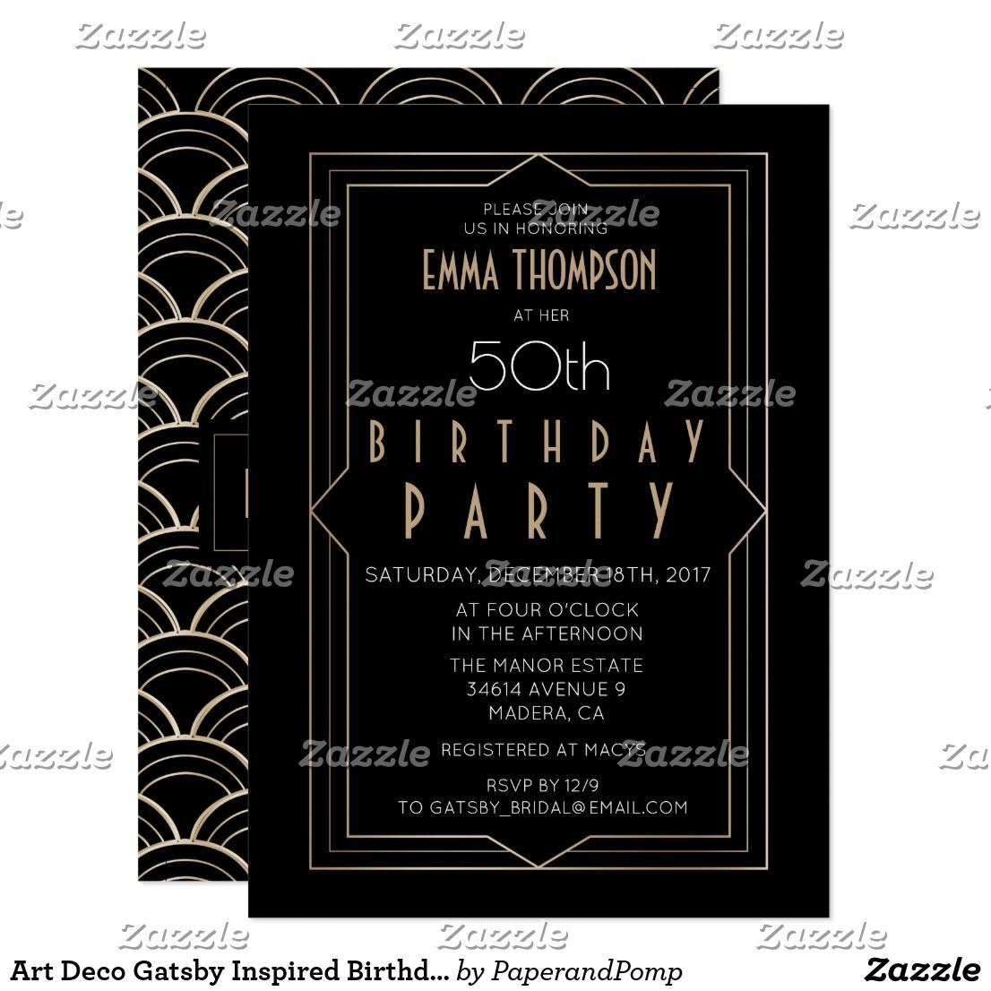 Art Deco Gatsby Inspired Birthday Party Invitation | Invitations ...
