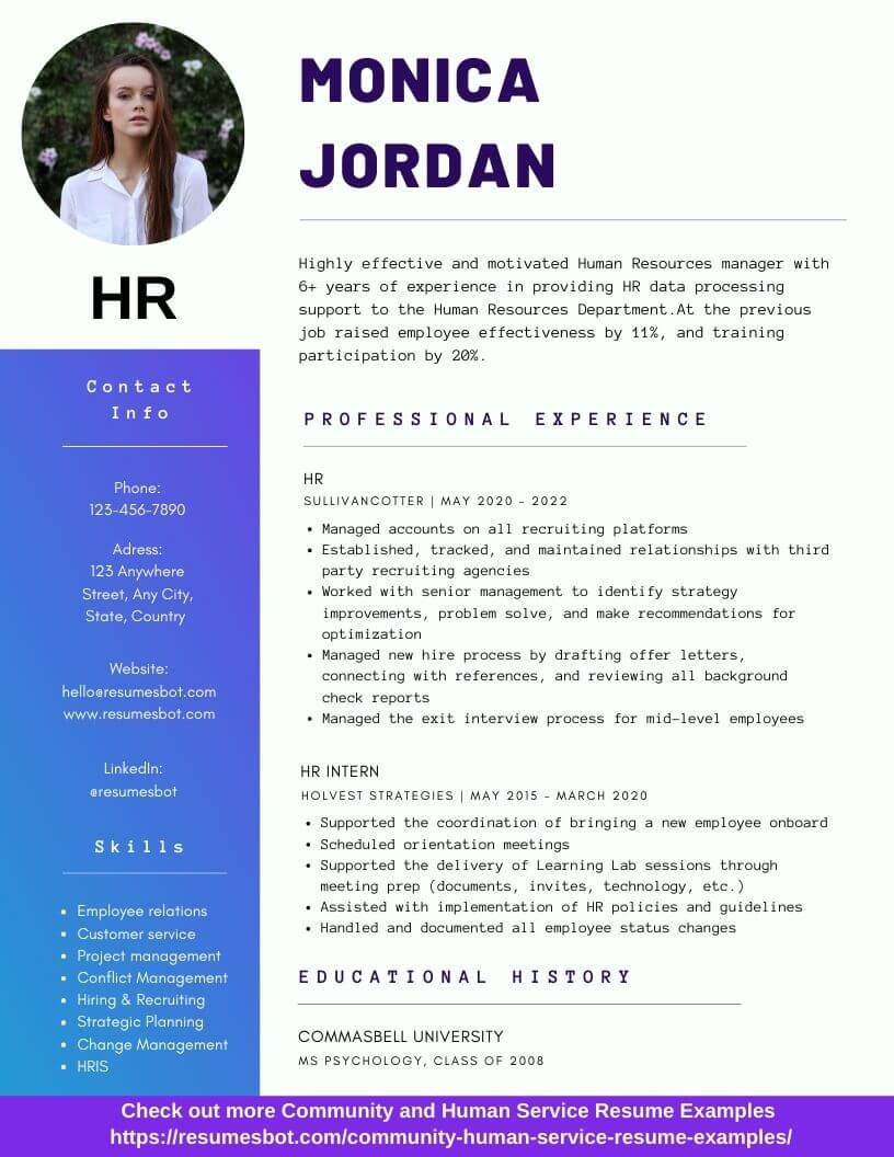 Hr Resume Samples And Tips Pdf Doc Resumes Bot Hr Resume Resume Examples Human Resources