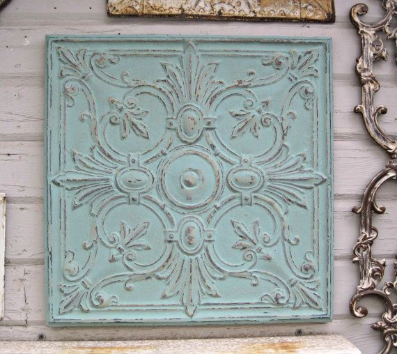 25c76284c456 This fantastic old ceiling tin tile has been painted a soft aqua ...
