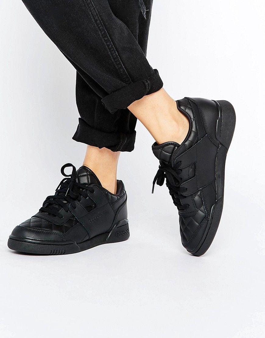 Zapatillas de deporte de cuero acolchado negro Low Plus de Reebok