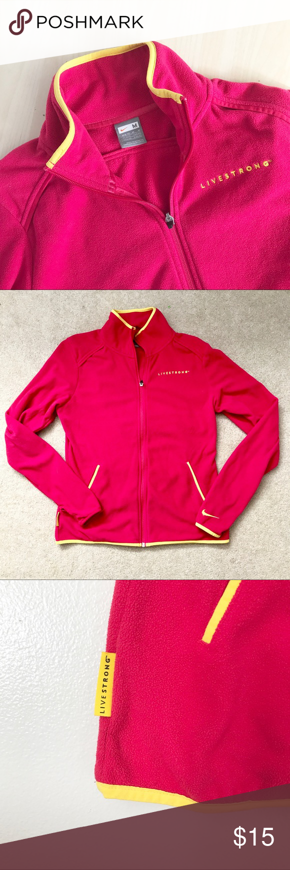 Livestrong pink fleece zipup jacket this bright fleece jacket is