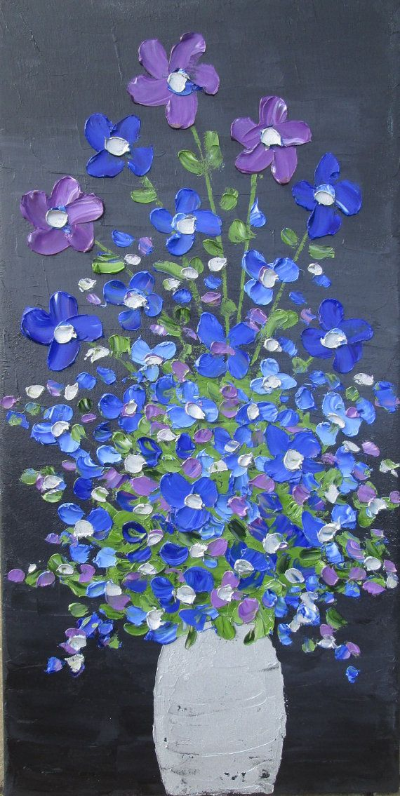 Flowers In A Vase Palette Knife Painting By
