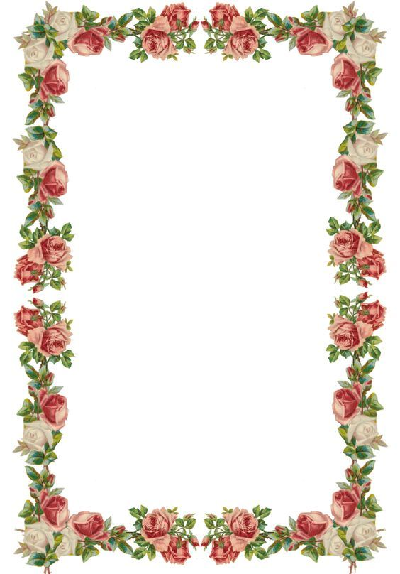 Free Digital Vintage Rose Frame And Border Png With Transparent Background Flower Templates Printable Free Rose Frame Flower Border