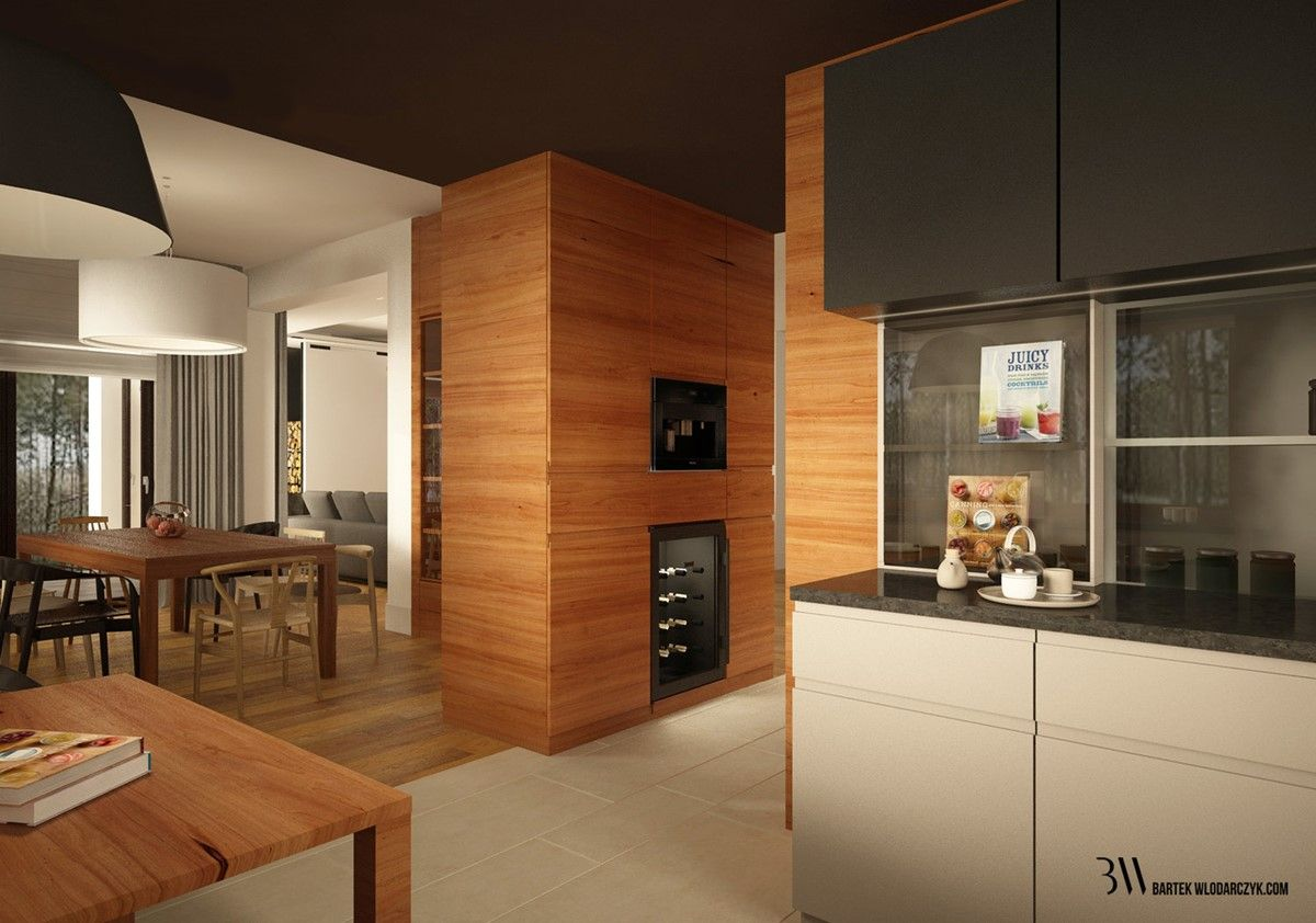Czarno Biała Kuchnia Zestawiona Z Drewnem Architektura